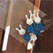 Wooden Bunny Rabbit Buttons 5 Pack Blue