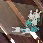 Wooden Buttons Bunny Rabbits Pack of 6 Aqua