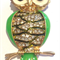 Needle Minder - Enamel and Crystal Owls - Green