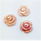Natural Pink Carved Shell Rose Beads