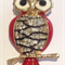 Needle Minder - Enamel and Crystal Owls - Red