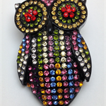 Needle Minder - Multi Coloured Crystal Owl - OWL0001M