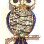 Needle Minder - Enamel and Crystal Owls - Blue
