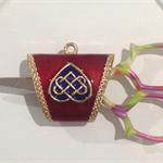 Scissor and Needle Minder - Enamel Celtic Design - Red