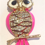Needle Minder - Enamel and Crystal Owls - Pink