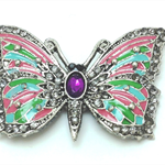 Needle Minder - Enamel and Crystal Butterfly