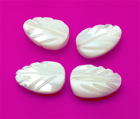 Freshwater Mother of Pearl Carved Leaves