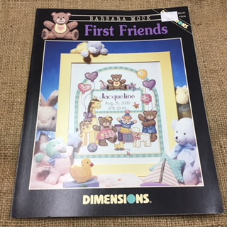 Dimensions Cross Stitch Leaflet called First Friends (Birth Sampler