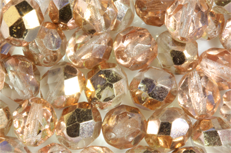 Czech Glass 8mm Faceted Round Beads Rose AB Luster