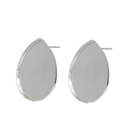 10-25x18mm Cabochon Settings Earring Post Kit & Glass Domes,Silver Plate