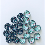 20 Glass Flower Cabochons 10mm