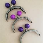 Purse frames x 3 - 8.5cm Bronze - shades of purple (free postage in Oz)