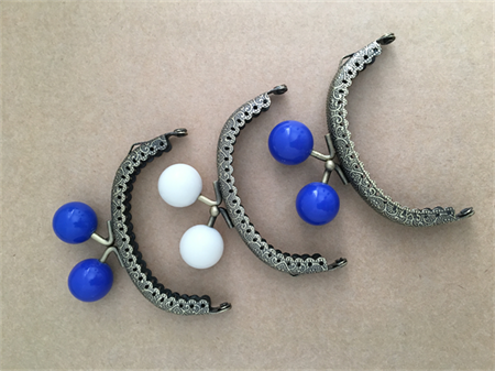 Purse frames x 3 - 8.5cm Bronze - blue and white (free postage in Oz)