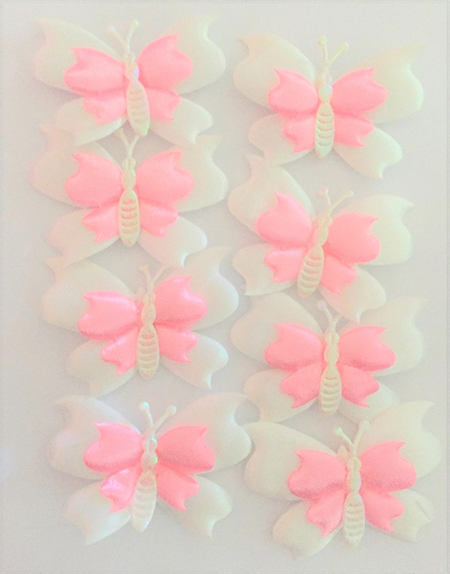 8 Puffy Satin Butterflies
