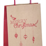 5 Kraft/Red Paper Bags with twisted paper handles