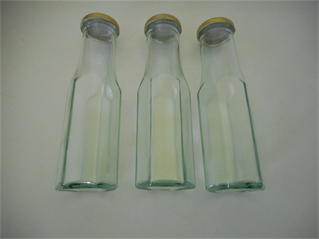 Sauce bottles glass hexagonal with new gold lid x 40