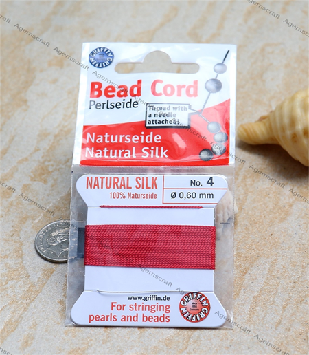 size 4 Red Griffin Silk Beading Cord Attached Needle 2 meters