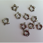 Pewter Double Dolphin Connector Charms x 10 pcs
