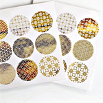 Japanese Print Gold Foil  Transparent Seals | Round Gold Stickers Seals