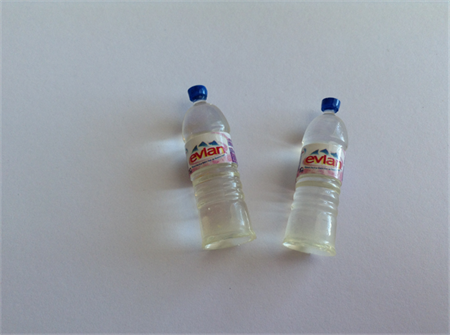 Miniature Evian Resin Bottled Water for Dolls House x 2 pcs