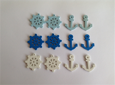 Wooden Nautical Anchor Helm for Card Embellishments/ Doll House x 12pcs