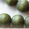 10mm Olive Green Round Wood Beads - Dyed and Waxed - 15 inch strand