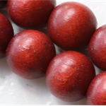 10mm  Cayenne Red Round Wood Beads - Dyed and Waxed - 15 inch strand