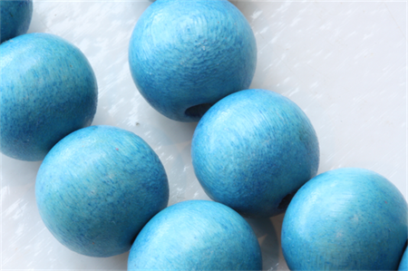 10mm  Blue Round Wood Beads - Dyed and Waxed - 15 inch strand
