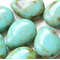 Pear Shaped Drops 12*16mm Opaque Turquoise Picasso Finish (8 Pieces)
