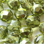 Firepolish 8mm Faceted Round Czech Beads - Peridot (25 pieces)