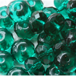 Firepolish 9/6mm Faceted Rondelle Czech Beads - Teal (25 pieces)