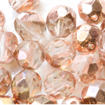 Rose Pink Gold Luster 8mm Faceted Round Czech Glass Beads (25 Pieces)