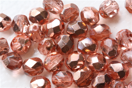 Rose Pink Gold Luster 6mm Faceted Round Czech Glass Beads (40 Pieces)