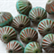 Fluted Fire polished Turquoise Picasso 9mm Czech Glass Beads (12 Pieces)