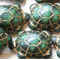 Green Picasso Finish Turtle Beads Czech Glass (8 pieces)