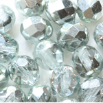 SIlver 8mm Faceted Round Czech Glass Beads (25 Pieces)