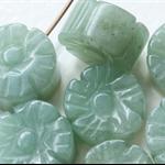 12mm Flat Jade Green Czech Glass Flower Beads (8 Pieces)
