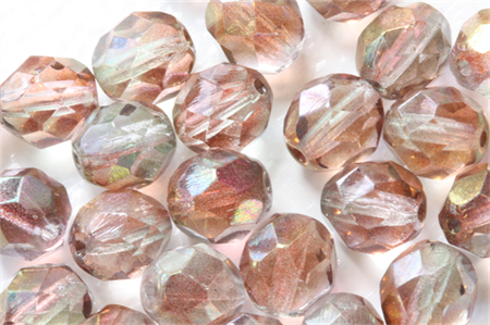 Pink Luster 8mm Faceted Round Czech Glass Beads (25 Pieces)