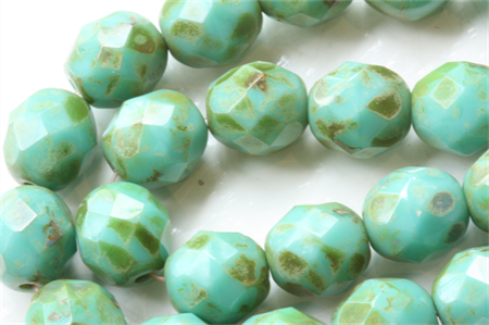 Turquoise Picasso 8mm Faceted Round Czech Glass Beads (25 Pieces)