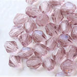Firepolish 5mm Faceted Round Czech Beads - Transparent Amethy (25 pieces)