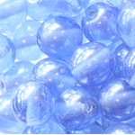 8mm Round Czech Pressed Glass Beads Lustred Sapphire Blue (50 Pieces)