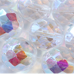 14mm Round Czech Faceted Round Beads Crystal AB (12 Pieces)