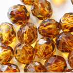 Tortoise Shell  8mm Faceted Round Czech Glass Beads (25 Pieces)