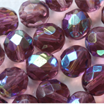 Firepolish 8mm Faceted Round Czech Beads - Amethyst (25 pieces)