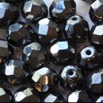 Firepolish 7mm Faceted Round Czech Beads - Metallic Gunmetal (25 pieces)