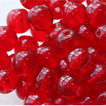 6mm Czech Pressed Glass Round Beads Transparent Red (25 Pieces)