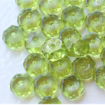 Czech Fire Polished Rondell Beads 3mm Transparent Olive (25 Pieces)