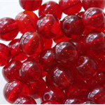 6mm Czech Pressed Glass Round Beads Transparent Garnet (25 Pieces)
