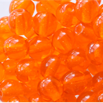 6mm Czech Pressed Glass Round Beads Transparent Orange (25 Pieces)