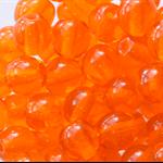 6mm Czech Pressed Glass Round Beads Transparent Orange (25 Pieces)